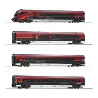 74084 Roco 4-delige set Railjet rijtuigen ÖBB met binnenverlichting