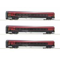 74087 Roco 3-delige set Railjet rijtuigen ÖBB met binnenverlichting