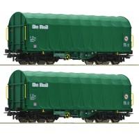 76049 Roco 2-delige wagenset schuifzeilwagens On Rail
