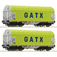 76055 Roco 2-delige wagenset schuifzeilwagens GATX