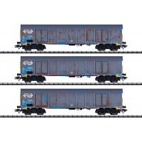 """24367 Trix 3-delige set NS hogeboordwagens """"houtspaandervervoer"""""""