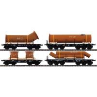 48695 Marklin Set 4-delig platte wagens voor zware goederen met lading