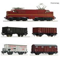 61459 Roco Set NS E-lok 1224 Bruin met goederenwagens met Sound