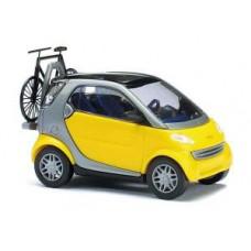 48907 Smart City Coupé met fietsendrager en fiets - Zwart