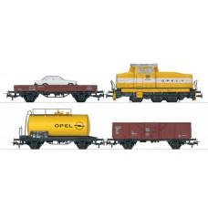 """26565 Treinset """"Opel"""" Locomotief met wagons en auto ACTIE OP=OP"""